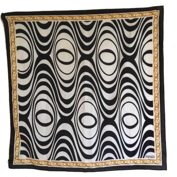 004436249f Fendi Accessories - Fendi 100% Cotton Square Black and White Scarf